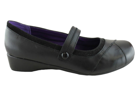 Grosby Footglove Elle Womens Leather Mary Jane Flats