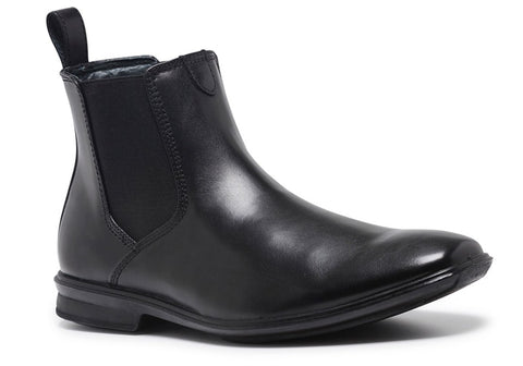 Hush Puppies Chelsea Mens Leather Extra Wide Fit Pull On Dress Boots