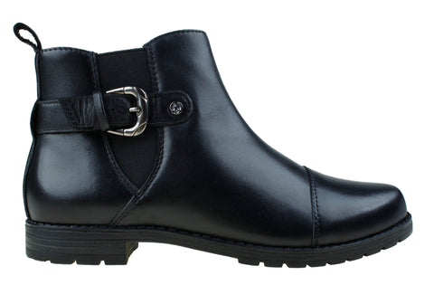 Planet Shoes Danni Womens Black Leather Ankle Boots