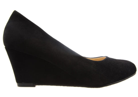 Kalinya Darla Womens Black Suede Wedge Heel Shoes