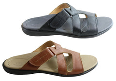 Scholl Orthaheel Pambula Womens Leather Supportive Slides Sandals
