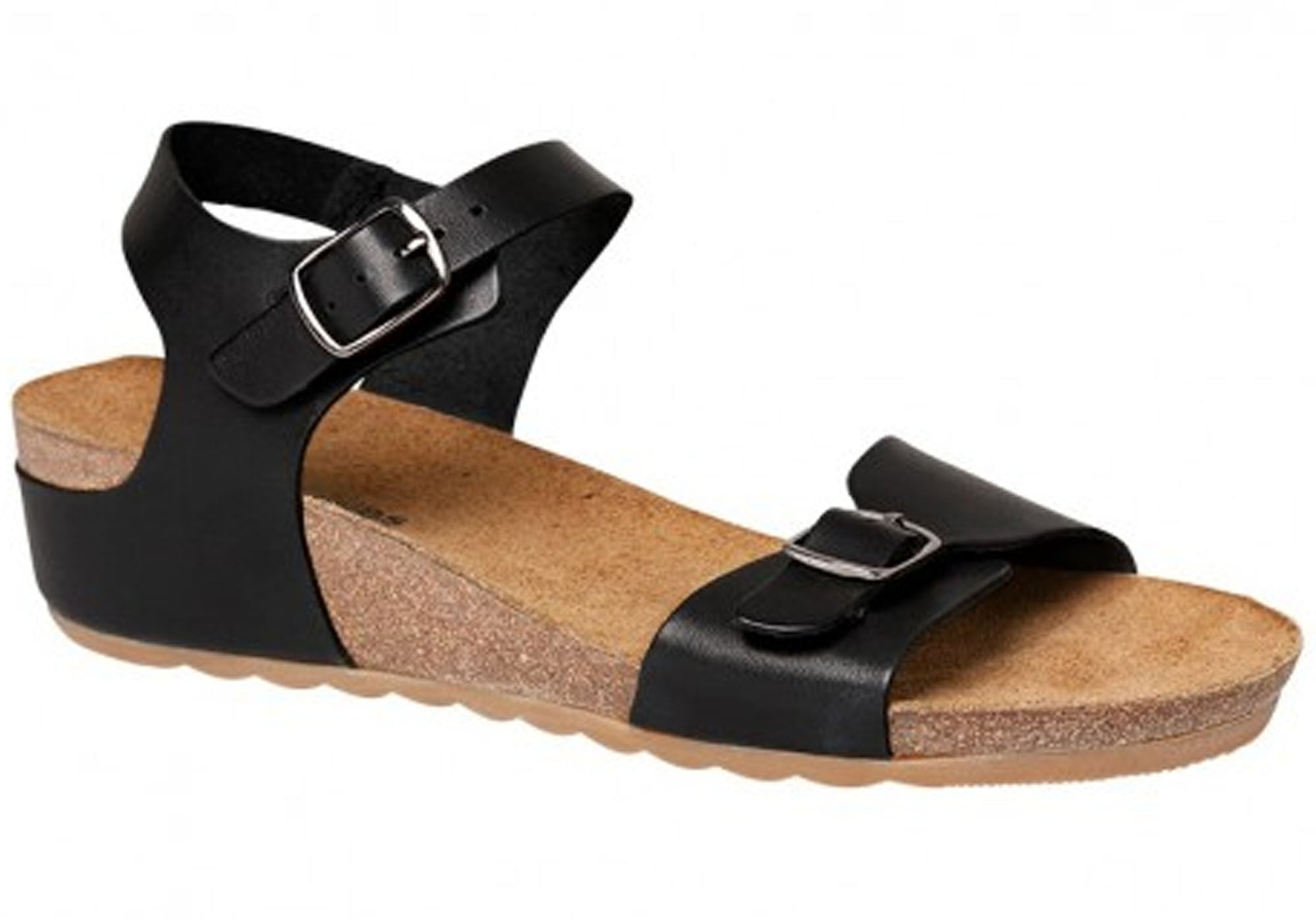 ... Tease Soothe Womens Leather Comfort Sandals. Black Leather ...