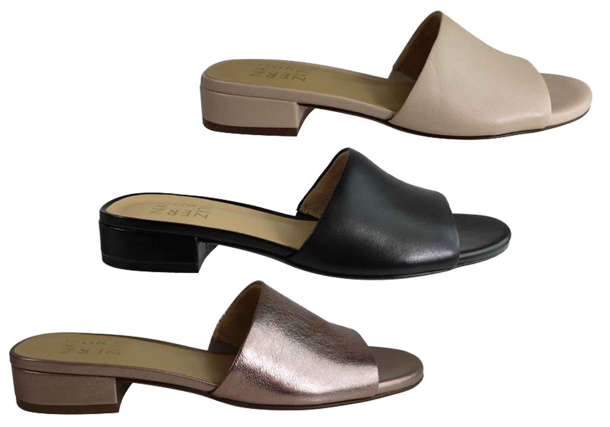 Details about Brand New Naturalizer Mason Womens Leather Low Heel Slip On Sandals Slides