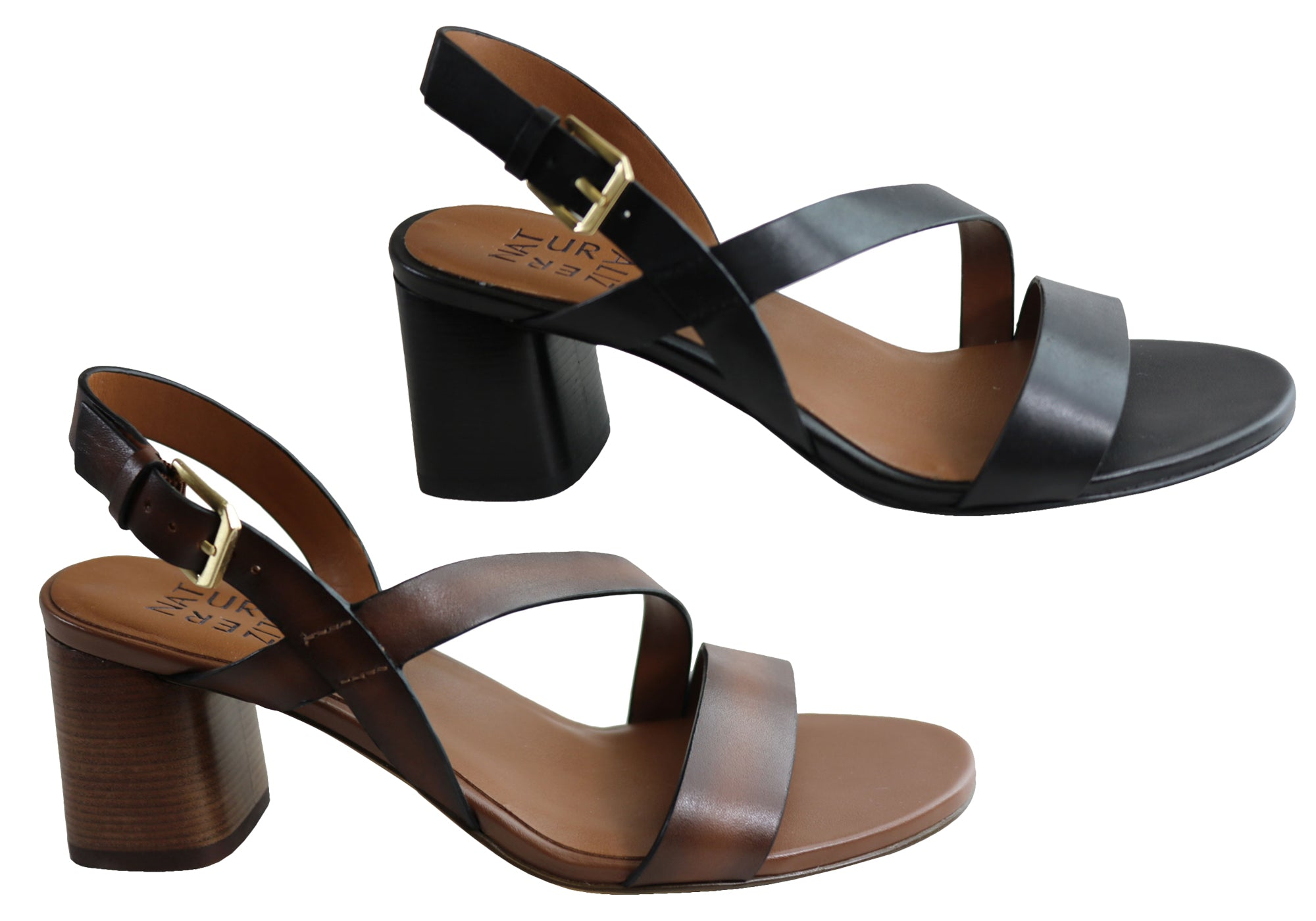 Details about Brand New Naturalizer Arianna Womens Comfortable Leather Mid Heel Sandals