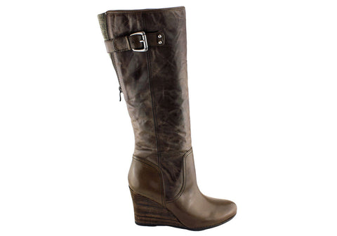 Naturalizer Quail Womens Wedge Heel Leather Knee High Boots