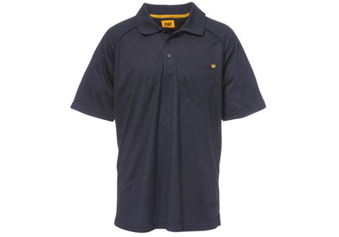 Caterpillar Mens Raglan Peformance SS Navy Polo