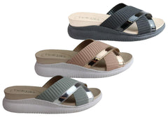 Beira Rio Conforto Misty Womens Cushioned Comfort Wedge Sandals Slides