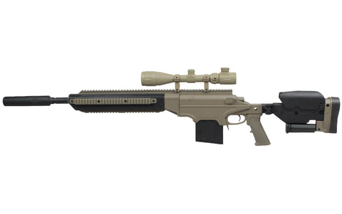 S&T ASW338 SPRING SNIPER RIFLE SHORT TAN W/SILENCER - Kill House CQB