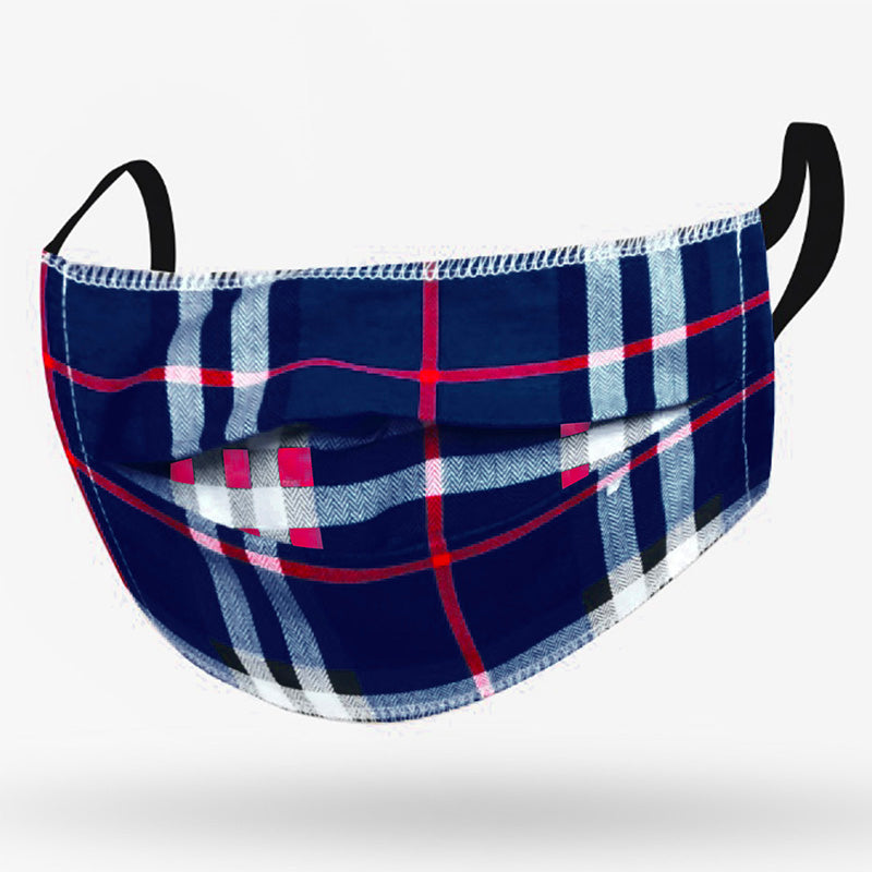Adult Mask Navy/Red Plaid