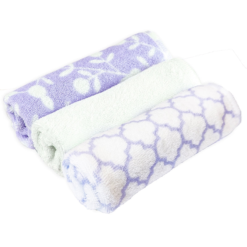 3-Pack Washcloths | Lilac Octagon-White Solid-Lilac Berries