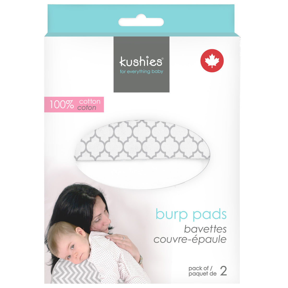 Burp Pads Ornament Lt. Background Grey - White