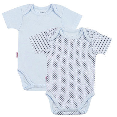 Short Sleeve Bodysuit 2 Pack | Blue Solid-Dots