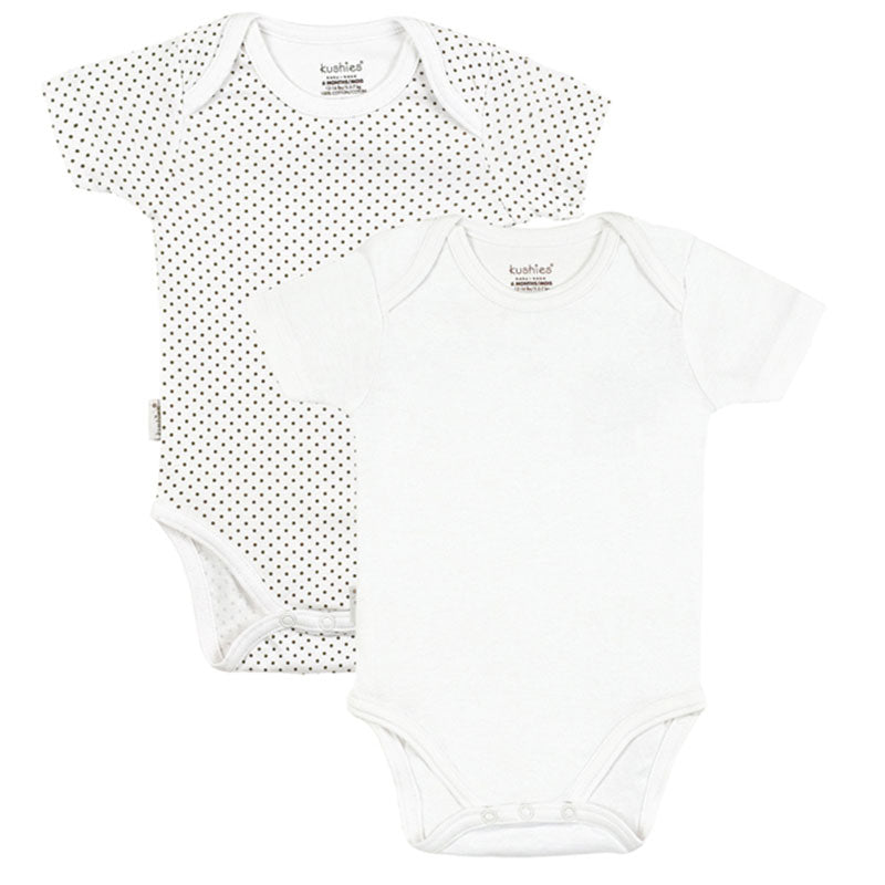 Short Sleeve Bodysuit 2 Pack | White Solid-Dots
