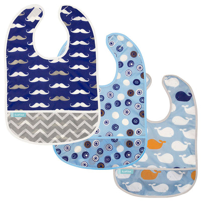 Cleanbib 3-pack | Circles - Whales - Moustache