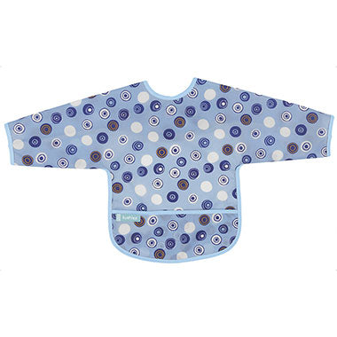 Cleanbib With Sleeves | Blue Crazy Circles