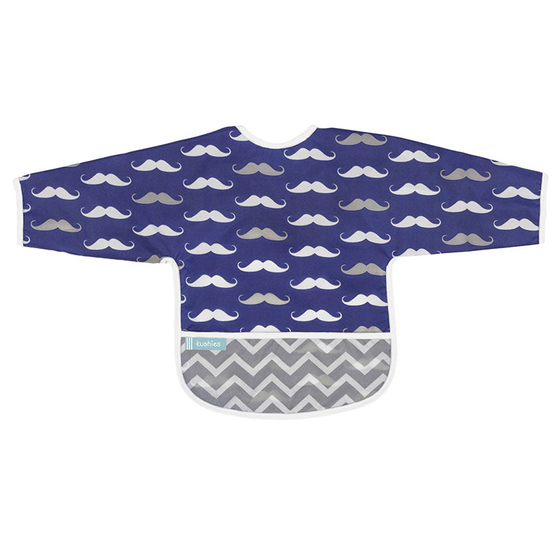 Cleanbib With Sleeves | Navy Moustache