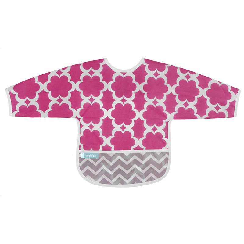Cleanbib With Sleeves | Fuchsia Modern Flowers