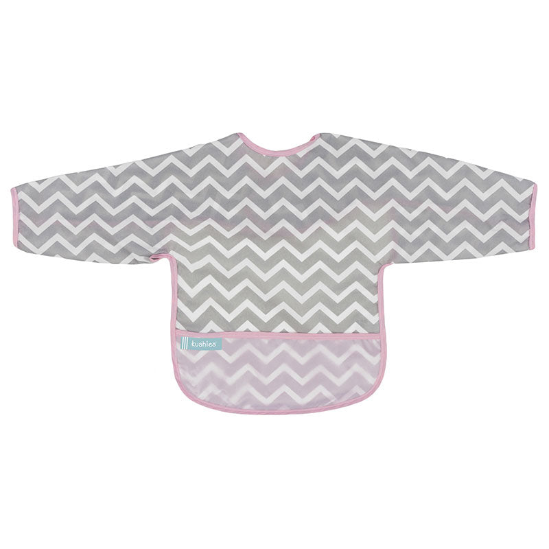 Cleanbib With Sleeves | Pink Chevron