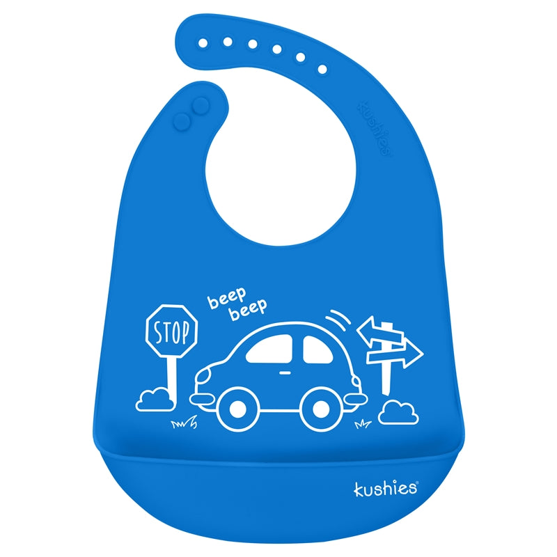 Silicatch Bib | My Car - Azure