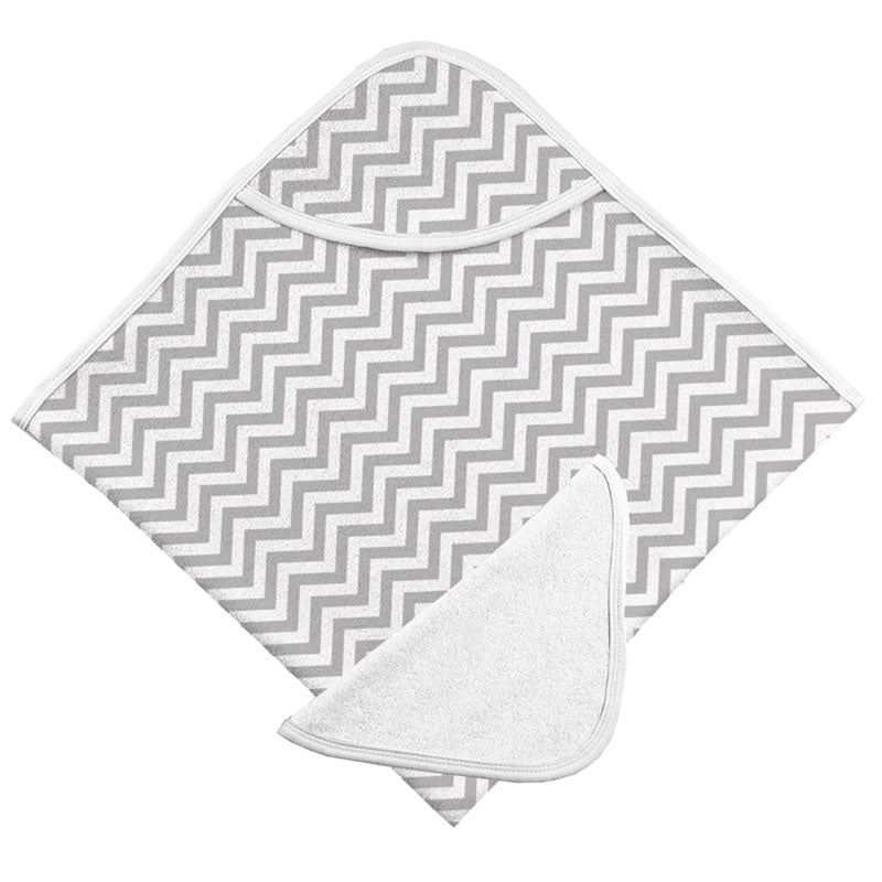 Hooded Bath Towel & Washcloth Set | Grey Chevron