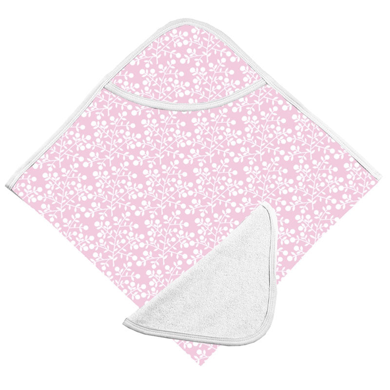 Hooded Bath Towel & Washcloth Set | Pink Berries