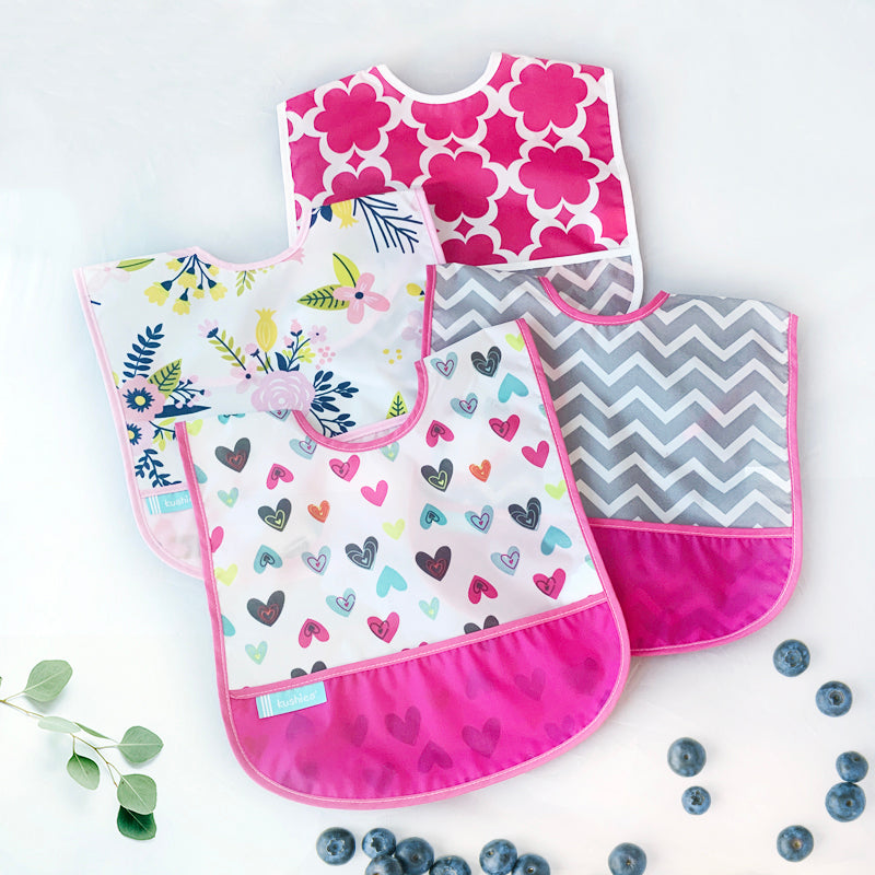 Cleanbib 3-pack | Hearts - Pink Chevron - Flowers