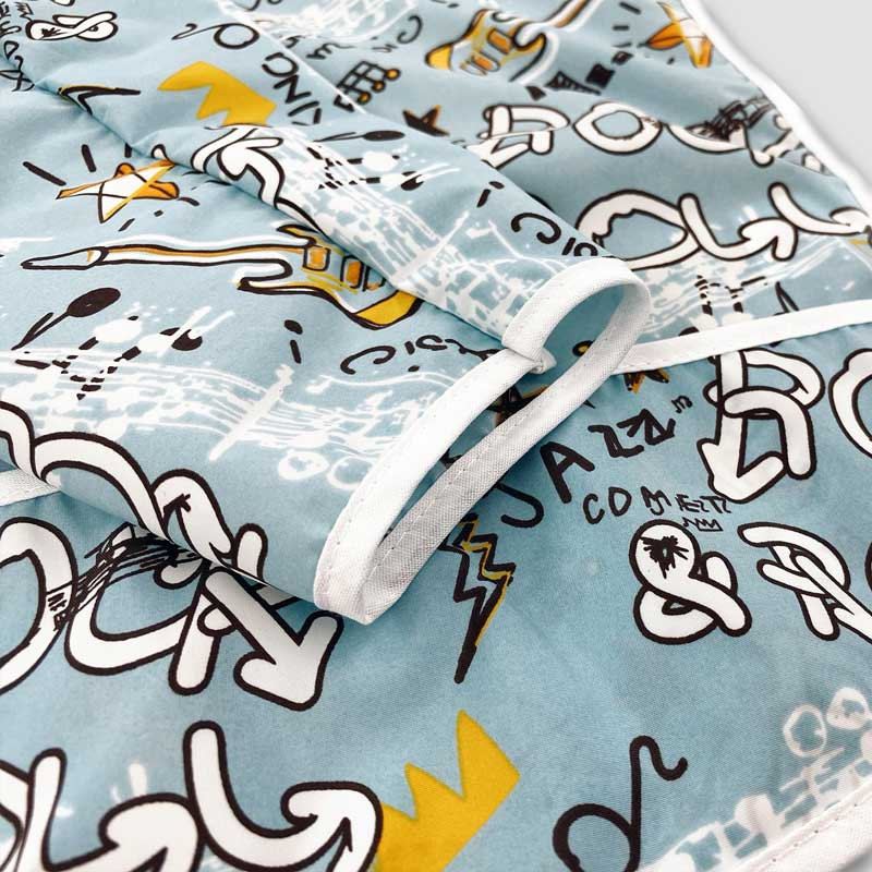Cleanbib With Sleeves Rock Graffiti Blue Pattern Zoom