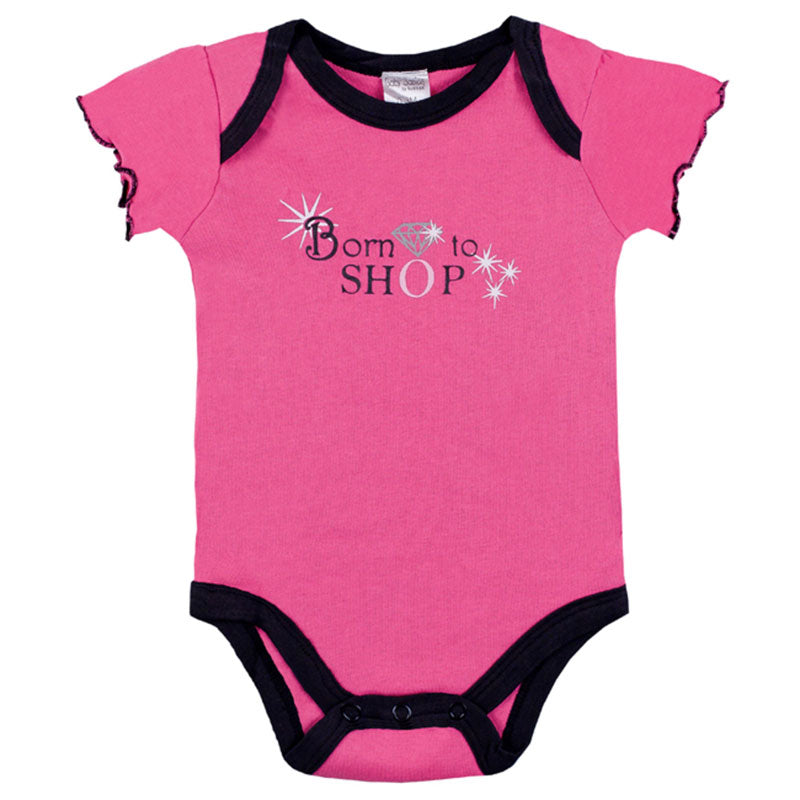 "Bodysuit - ""Born to Shop"" - Fuchsia"