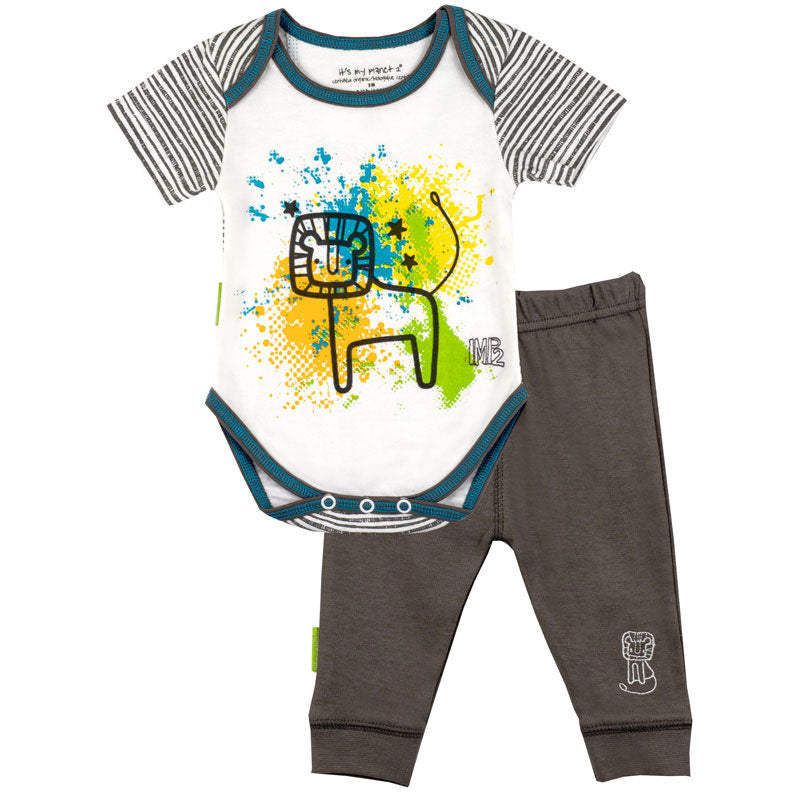 Savanna Splash SS Bodysuit & Play Pant Set Charcoal
