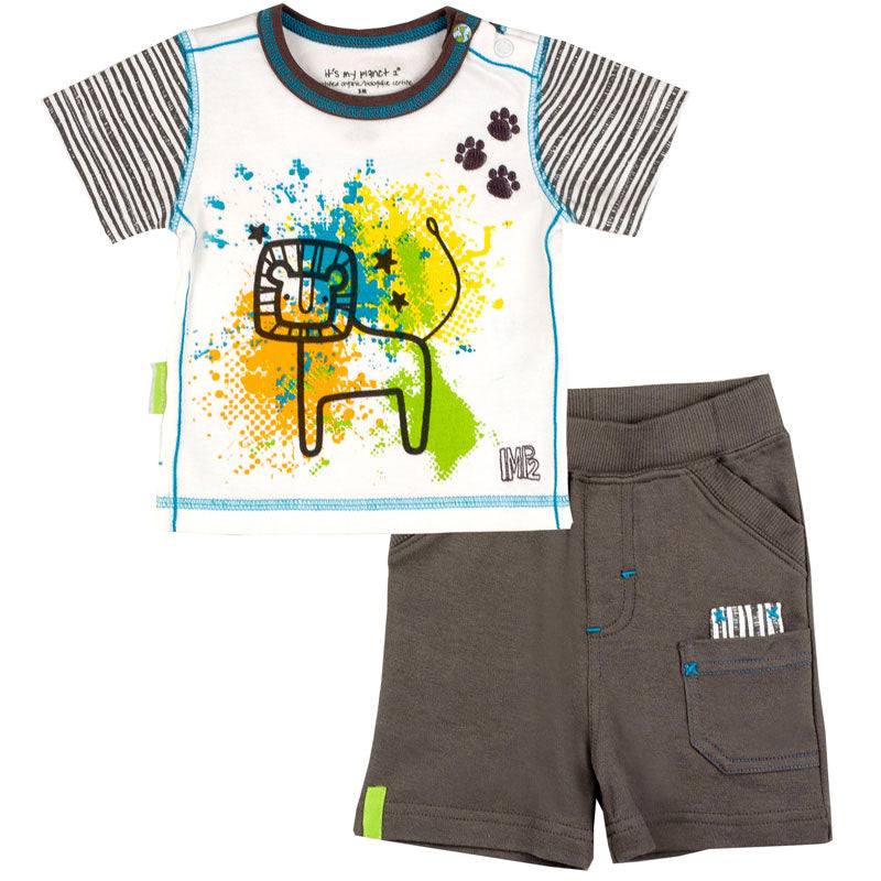 Savanna Splash T-Shirt & Short Set Charcoal