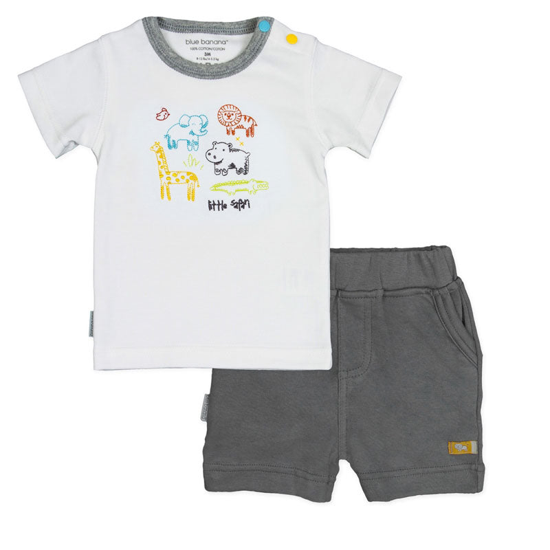 On Safari T-shirt & Short Set - White