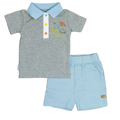 On Safari T-shirt & Short Set - Heather Grey