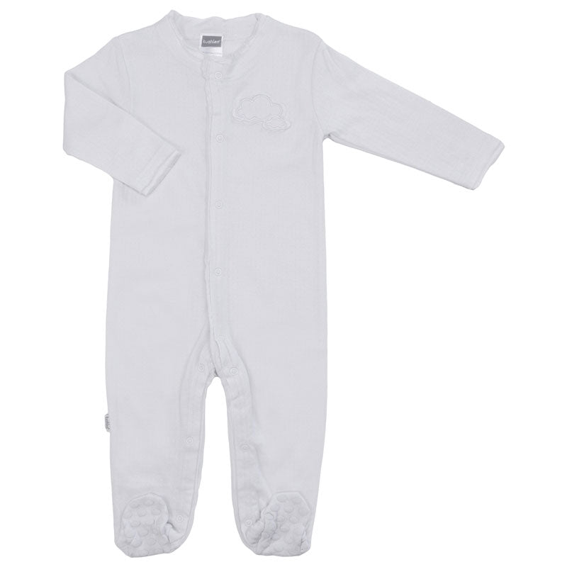 Soft Pointelle Front Snap Sleeper - Light Grey