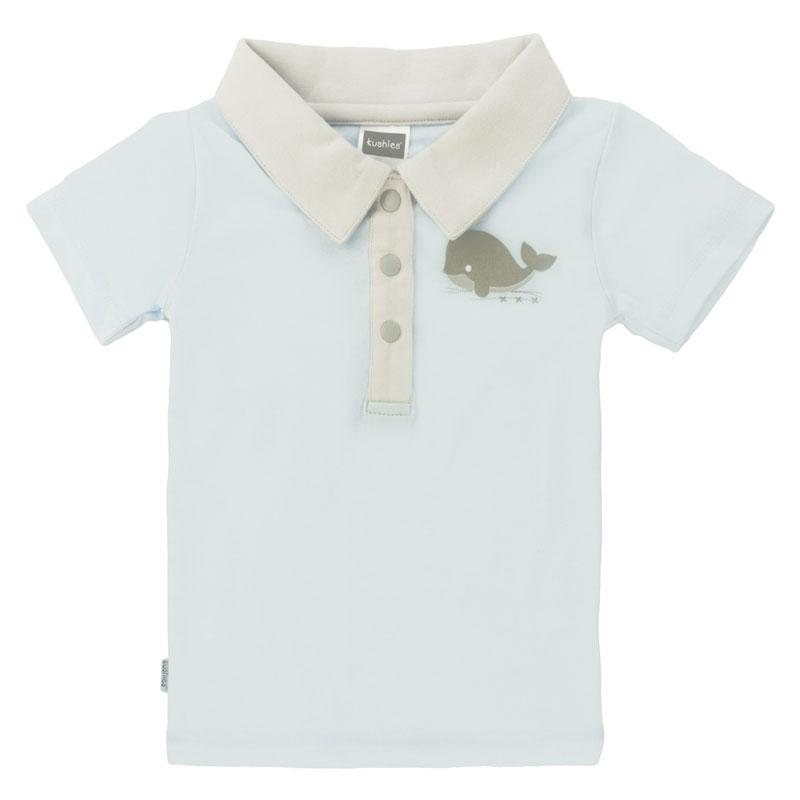 Soft n' Cuddly Boy Short Sleeve Polo T-Shirt - Light Blue
