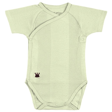 Mocha Everyday Layette Short Sleeve Wrap Bodysuit | Sage
