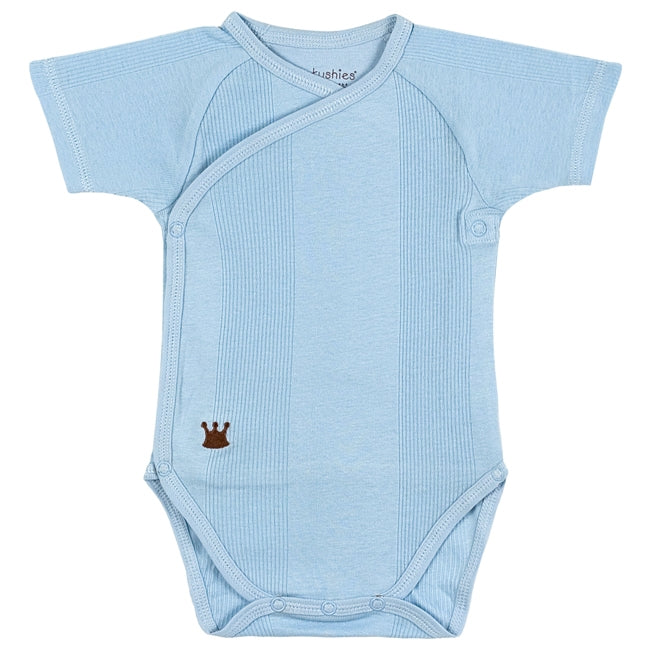 Mocha Everyday Layette Short Sleeve Wrap Bodysuit | Blue