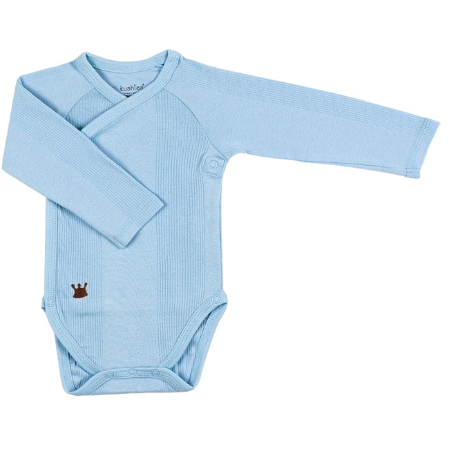 Mocha Everyday Layette Long Sleeve Wrap Bodysuit | Blue