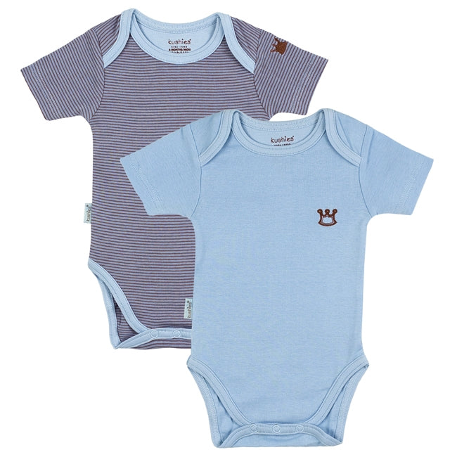 Mocha Everyday Layette Short Sleeve Bodysuit 2 Pack | Blue Solid-Stripe