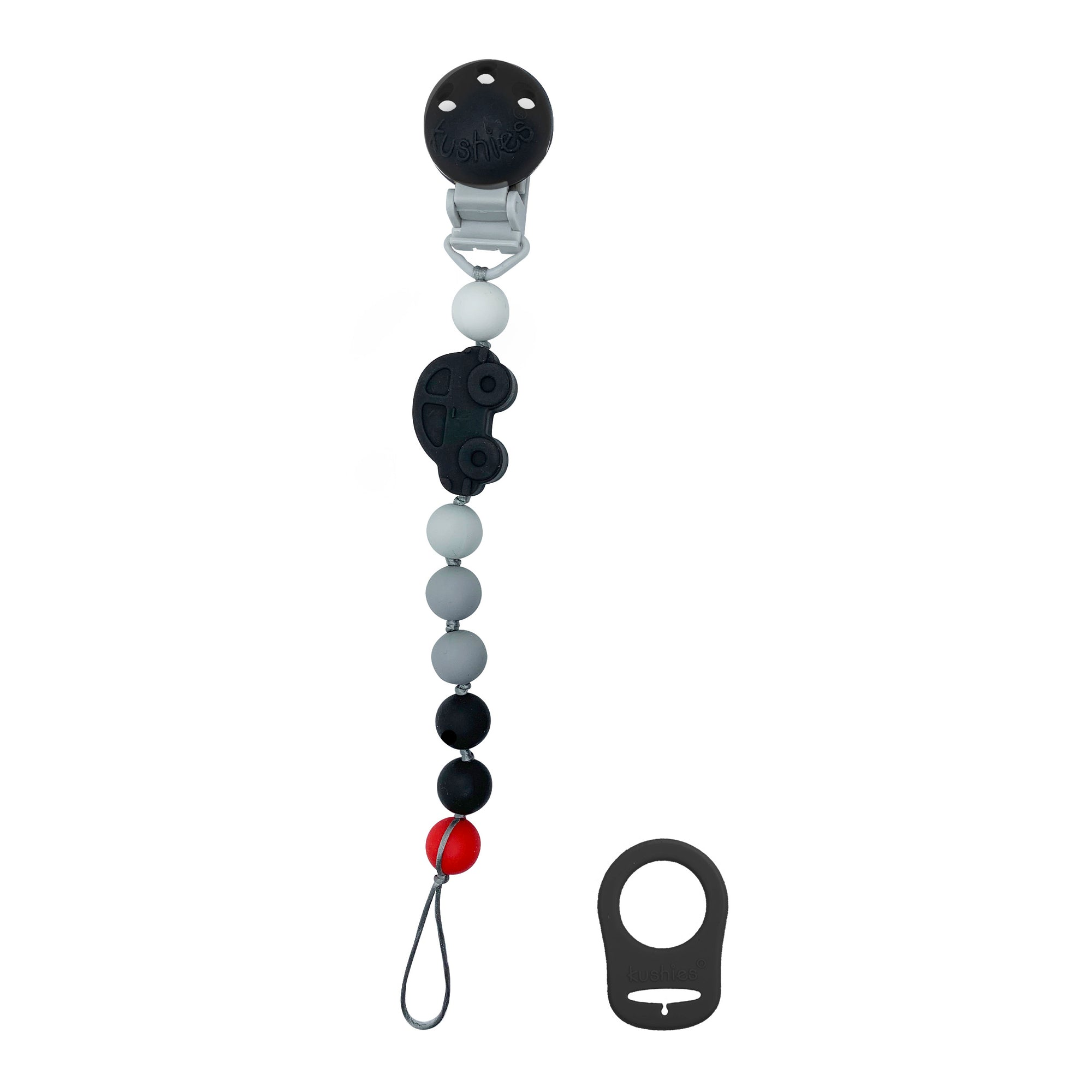 Silibeads Pacifier Clip | Black Car