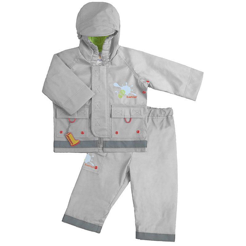 Splish Splash Rain Jacket & Pant Set Silver