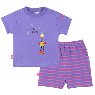 Ku Ku Short Sleeve Tee & Short Set - Purple