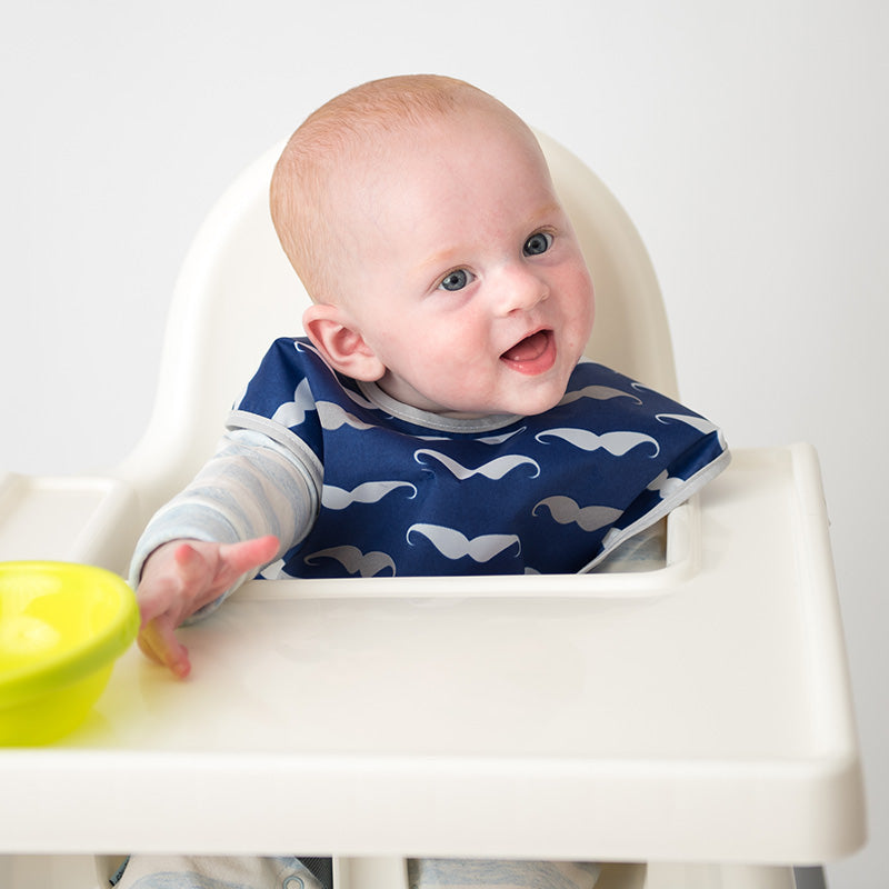 Baby in Navy Moustache Cleanbib