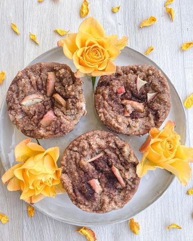 Birds eye image of breakfast muffins made using Rose Cacao