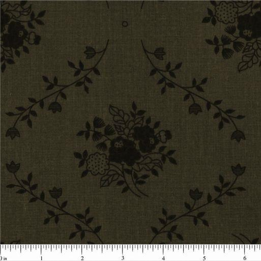"108"" Floral Bouquet Quilt Backing Fabric - Dark Olive Green - ineedfabric.com"