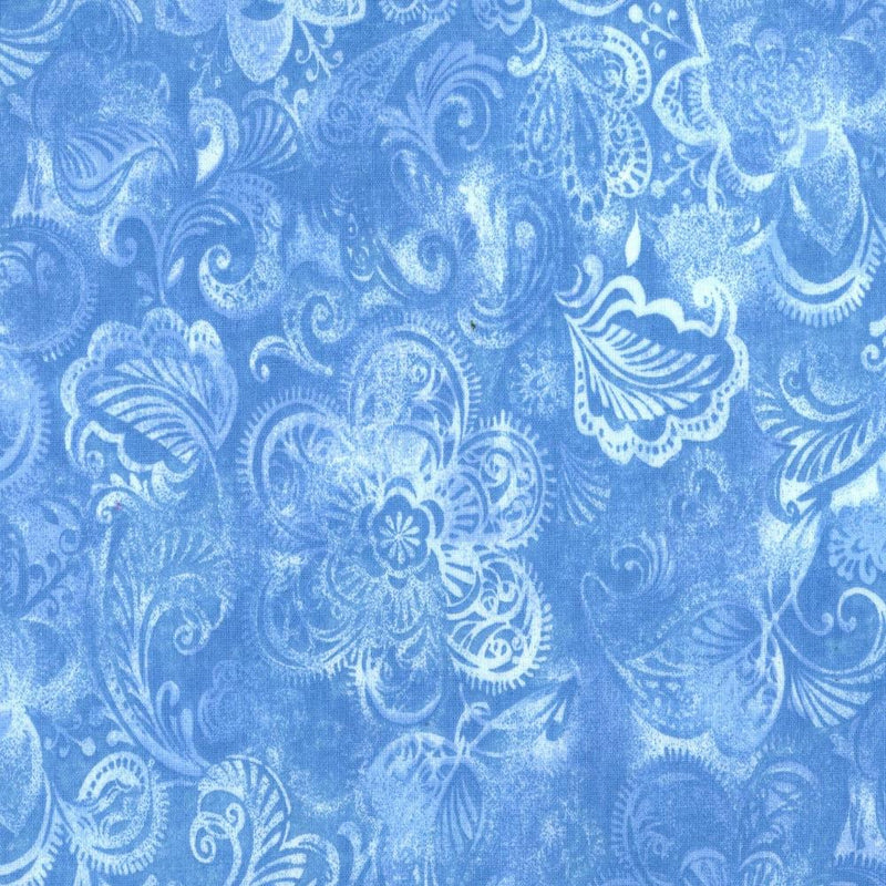 "108"" Floral Quilt Backing - Blue - ineedfabric.com"