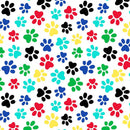 "108"" Multi Paw Prints Quilt Backing - White - ineedfabric.com"