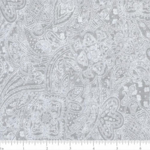 "108"" Paisley Quilt Backing Fabric - Gray - ineedfabric.com"