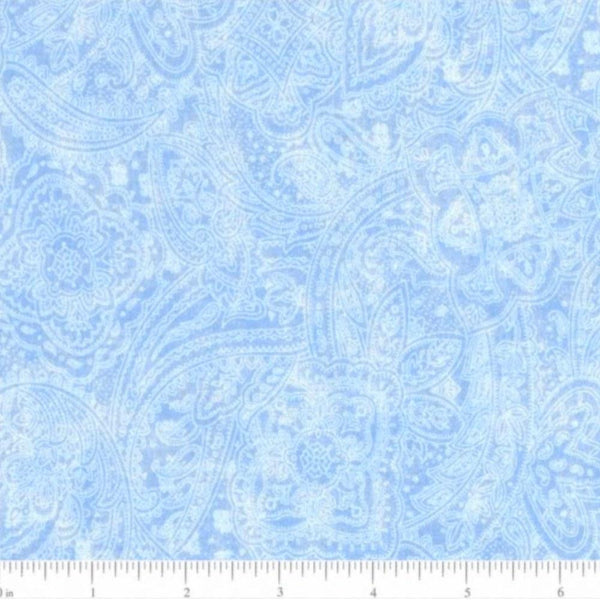 "108"" Paisley Quilt Backing Fabric - Light Blue"