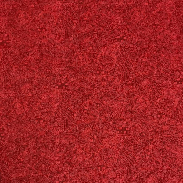 "108"" Paisley Quilt Backing Fabric - Red"