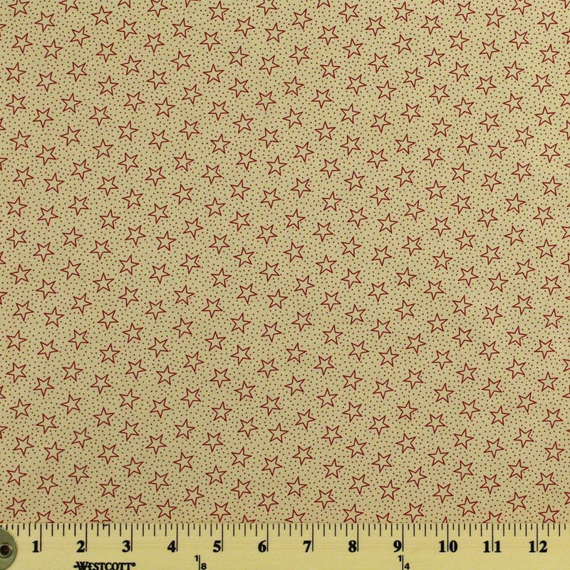 "108"" Quilt Backing, Antique Stars and Dots Fabric - Red - ineedfabric.com"